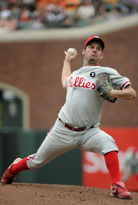 SAN FRANCISCO, CA - AUGUST 7: Roy Oswalt #44 of the Philadelphia Phillies pitches against the San Francisco Giants during a MLB baseball game at AT&amp;T Park August 7, 2011 in San Francisco, California. (Photo by Thearon W. Henderson/Getty Images)