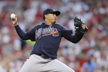 CINCINNATI, OH - JULY 22: Jair Jurrjens #49 of the Atlanta Braves pitches against the Cincinnati Reds at Great American Ball Park on July 22, 2011 in Cincinnati, Ohio. (Photo by Joe Robbins/Getty Images)