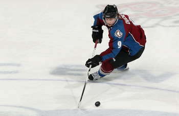 DENVER, CO - MARCH 31:  Matt Duchene #9 of the Colorado Avalanche controls the puck against the Nashville Predators at the Pepsi Center on March 31, 2011 in Denver, Colorado. The Nashville Predators defeated the Colorado Avalanche 3-2.  (Photo by Doug Pen