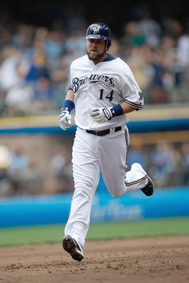 MILWAUKEE, WI - AUGUST 03: Casey McGehee #14 of the Milwaukee Brewers runs to third base after hitting a home run against the St. Louis Cardinals at Miller Park on August 3, 2011 in Milwaukee, Wisconsin. (Photo by Scott Boehm/Getty Images)