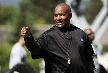 NAPA, CA - AUGUST 5: Head coach Hue Jackson of the Oakland Raiders looks on during practice at the Oakland Raiders training facility on August 5, 2011 in Napa, California. (Photo by Thearon W. Henderson/Getty Images)
