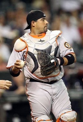 PHOENIX - MAY 19:  Bengie Molina #1 of the San Francisco Giants in action during the Major League Baseball game against the Arizona Diamondbacks at Chase Field on May 19, 2010 in Phoenix, Arizona.  The Diamondbacks defeated the Giants 13-1.  (Photo by Chr
