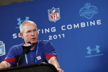 INDIANAPOLIS, IN - FEBRUARY 25: New York Giants head coach Tom Coughlin answers questions during a media session at the 2011 NFL Scouting Combine at Lucas Oil Stadium on February 25, 2011 in Indianapolis, Indiana. (Photo by Joe Robbins/Getty Images)