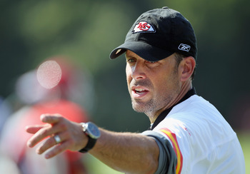 SAINT JOSEPH, MO - JULY 31:  Head coach Todd Haley motions during Kansas City Chiefs Training Camp on July 31, 2011 in Saint Joseph, Missouri.  (Photo by Jamie Squire/Getty Images)