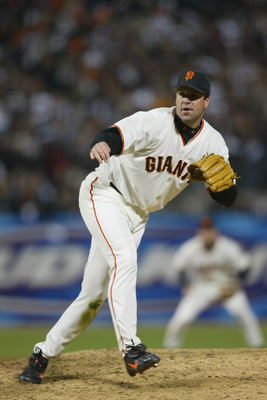 SAN FRANCISCO - OCTOBER 14:  Pitcher Tim Worrell #45 of the San Francisco Giants follows through after throwing a pitch during game five of the National League Championship Series against the St. Louis Cardinals on October 14, 2002 at Pacific Bell Park in