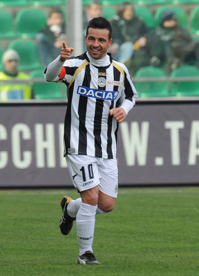 PALERMO, ITALY - FEBRUARY 27: Antonio Di Natale of Udinese celebrates after scoring the opening goal during the Serie A match between US Citta di Palermo and Udinese Calcio at Stadio Renzo Barbera on February 27, 2011 in Palermo, Italy.  (Photo by Tullio