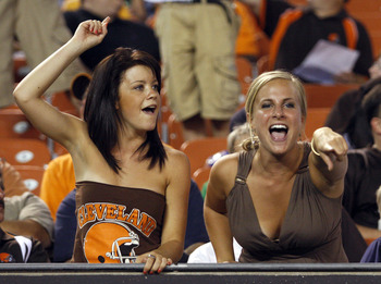 CLEVELAND - SEPTEMBER 2:  Cleveland Brown fans cheer on their team during the preseason game against the Chicago Bears on September 2, 2010 at Cleveland Browns Stadium in Cleveland, Ohio. The Browns defeated the Bears 13-10.  (Photo by Justin K. Aller/Get