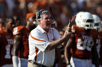 AUSTIN, TX - SEPTEMBER 25:  Head coach Mack Brown of the Texas Longhorns yells during a game against the UCLA Bruins at Darrell K Royal-Texas Memorial Stadium on September 25, 2010 in Austin, Texas.  (Photo by Ronald Martinez/Getty Images)