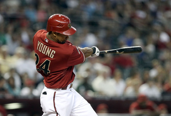 PHOENIX, AZ - AUGUST 07:  Chris Young #24 of the Arizona Diamondbacks bats against the Los Angeles Dodgers during the Major League Baseball game at Chase Field on August 7, 2011 in Phoenix, Arizona.  The Diamondbacks defeated the Dodgers 4-3.  (Photo by C