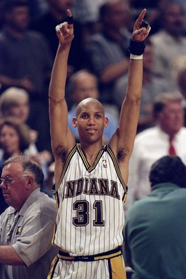 13 May, 1998:  Reggie Miller #31 of the Indianapolis Pacers celebrates win against the New York Knicks during the NBA Eastern Conference Finals at the Market Square Arena in Indianapolis, Indiana.  The Pacers defeated the Knicks 99-88. Mandatory Credit: V