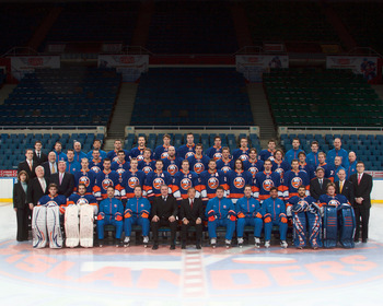UNIONDALE, NY - APRIL 10: (EDITORS NOTE: This images has been retouched.)  The New York Islanders pose for their official team photograph at the Nassau Coliseum on March 15, 2011 in Uniondale, New York.  (Photo by Bruce Bennett/Getty Images)