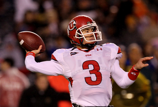 SAN DIEGO - NOVEMBER 20:  Quarterback Jordan Wynn #3 of the Utah Utes throws a pass against the San Deigo State Aztecs at Qualcomm Stadium on November 20, 2010 in San Diego, California.  (Photo by Stephen Dunn/Getty Images)