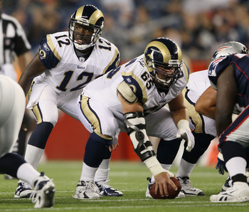 FOXBORO, MA - AUGUST 26:  Thaddeus Lewis #12 of the St. Louis Rams calls out the play as Hank Fraley #65 waits to snap the ball in the second half against the New England Patriots on August 26, 2010 at Gillette Stadium in Foxboro, Massachusetts. The Rams