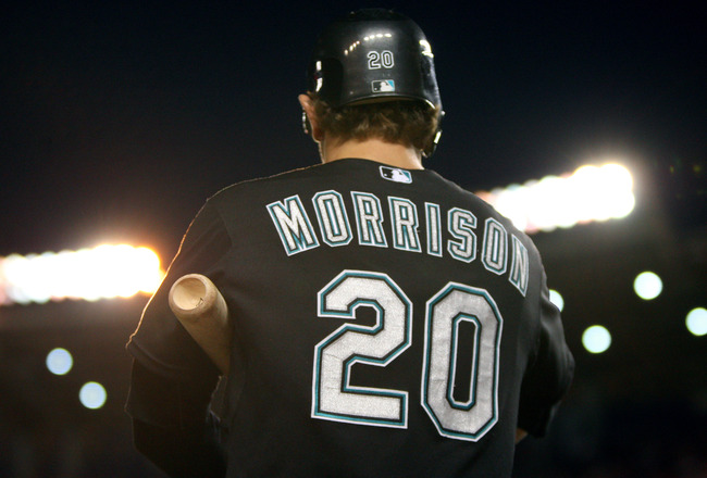 WASHINGTON, DC - JULY 27: Logan Morrison #20 of the Florida Marlins waits on deck against the Washington Nationals at Nationals Park on July 27, 2011 in Washington, DC. The Marlins won 7-5. (Photo by Ned Dishman/Getty Images)
