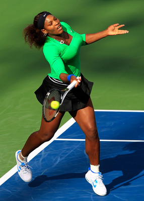 TORONTO, ON - AUGUST 10: Serena Williams celebrates returns to Julia Goerges of Germany on Day 3 of the Rogers Cup presented by National Bank at the Rexall Centre on August 10, 2011 in Toronto, Ontario, Canada.  (Photo by Chris Trotman/Getty Images)