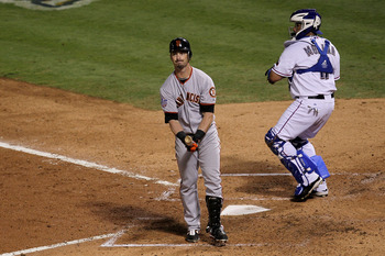 ARLINGTON, TX - NOVEMBER 01:  Aaron Rowand #33 of the San Francisco Giants reacts to striking out in the sixth inning of Game Five of the 2010 MLB World Series at Rangers Ballpark in Arlington on November 1, 2010 in Arlington, Texas.  (Photo by Stephen Du