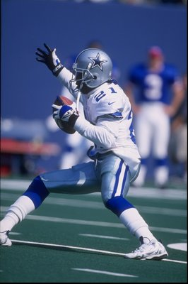 4 Oct 1997:  Deion Sanders #21 of the Dallas Cowboys in action during a game against the New York Giants at the Meadowlands in East Rutherford, New Jersey. The Giants defeated the Cowboys 20-17. Mandatory Credit: Al Bello  /Allsport