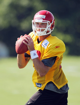 SAINT JOSEPH, MO - JULY 31:  Quarterback Ricky Stanzi #13 practices during Kansas City Chiefs Training Camp on July 31, 2011 in Saint Joseph, Missouri.  (Photo by Jamie Squire/Getty Images)