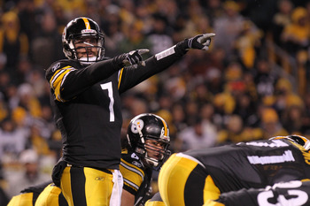 PITTSBURGH, PA - JANUARY 15:  Quarterback Ben Roethlisberger #7 of the Pittsburgh Steelers signals against the Baltimore Ravens in the first quarter of the AFC Divisional Playoff Game at Heinz Field on January 15, 2011 in Pittsburgh, Pennsylvania.  (Photo