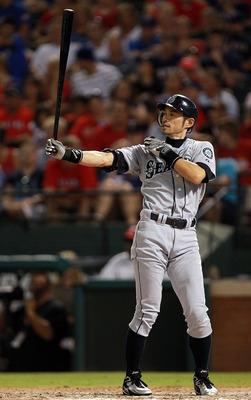ARLINGTON, TX - AUGUST 09:  Ichiro Suzuki #51 of the Seattle Mariners at Rangers Ballpark in Arlington on August 9, 2011 in Arlington, Texas.  (Photo by Ronald Martinez/Getty Images)