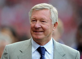 MANCHESTER, ENGLAND - AUGUST 05:   Manchester United Manager Sir Alex Ferguson looks on prior to Paul Scholes' Testimonial Match between Manchester United and New York Cosmos at Old Trafford on August 5, 2011 in Manchester, England. (Photo by Chris Brunsk