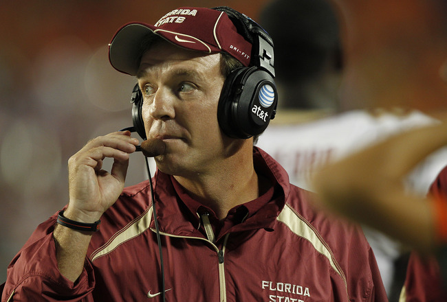 MIAMI, FL - OCTOBER 9: Head coach Jimbo Fisher of the Florida State Seminoles during first half action against the Miami Hurricanes on October 9, 2010 at Sun Life Stadium in Miami, Florida. (Photo by Joel Auerbach/Getty Images)