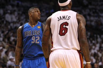 MIAMI, FL - JUNE 12:  DeShawn Stevenson #92 of the Dallas Mavericks looks on against LeBron James #6 of the Miami Heat in Game Six of the 2011 NBA Finals at American Airlines Arena on June 12, 2011 in Miami, Florida. NOTE TO USER: User expressly acknowled
