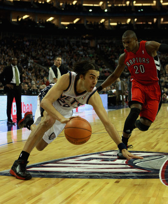 LONDON, ENGLAND - MARCH 04:  Sasha Vujacic of the New Jersey Nets in action during the NBA match between New Jersey Nets and the Toronto Raptors at the O2 Arena on March 4, 2011 in London, England. NOTE TO USER: User expressly acknowledges and agrees that