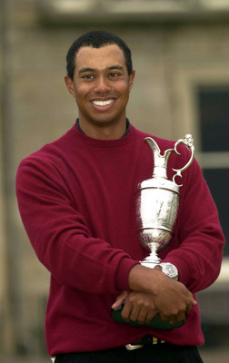 Tiger Woods after winning the 2000 British Open Championship