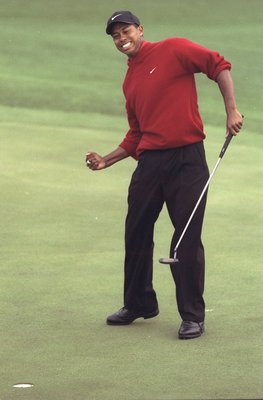 Tiger Woods moments after winning the 1997 Masters