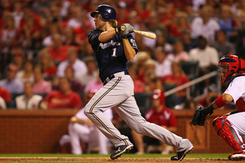 ST. LOUIS, MO - AUGUST 10: Corey Hart #1 of the Milwaukee Brewers hits a two-RBI single against the St. Louis Cardinals at Busch Stadium on August 10, 2011 in St. Louis, Missouri.  The Brewers beat the Cardinals 5-1.  (Photo by Dilip Vishwanat/Getty Image