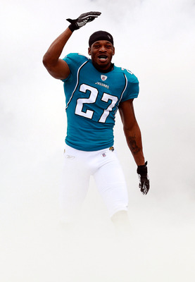 JACKSONVILLE, FL - DECEMBER 12:  Rashean Mathis  #27 of the Jacksonville Jaguars enters the stadium through a cloud of smoke prior to the game against the Oakland Raiders at EverBank Field on December 12, 2010 in Jacksonville, Florida.  (Photo by Sam Gree