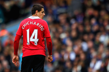 BLACKBURN, ENGLAND - MAY 14:  Javier Hernandez of Manchester United looks on during the Barclays Premier League match between Blackburn Rovers and Manchester United at Ewood park on May 14, 2011 in Blackburn, England.  (Photo by Dean Mouhtaropoulos/Getty