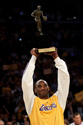LOS ANGELES, CA - MAY 07:  Kobe Bryant #24 of the Los Angeles Lakers holds up the MVP Trophy before the start of Game Two of the Western Conference Semifinals against the Utah Jazz during the 2008 NBA Playoffs on May 7, 2008 at Staples Center in Los Angel