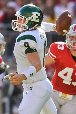 COLUMBUS, OH - SEPTEMBER 25:  Quarterback Alex Gillett #8 of the Eastern Michigan Eagles passes against the Ohio State Buckeyes at Ohio Stadium on September 25, 2010 in Columbus, Ohio.  Ohio State won 73-20. (Photo by Jamie Sabau/Getty Images)
