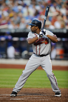 NEW YORK, NY - AUGUST 05:  Michael Bourn #24 of the Atlanta Braves bats during a game against the New York Mets at Citi Field on August 5, 2011 in the Flushing neighborhood of the Queens borough of New York City. The Braves defeated the Mets 4-1.  (Photo