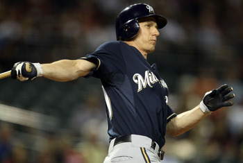 PHOENIX, AZ - JULY 18:  Craig Counsell #30 of the Milwaukee Brewers bats against the Arizona Diamondbacks during the Major League Baseball game at Chase Field on July 18, 2011 in Phoenix, Arizona.  The Diamondbacks defeated the Brewers 3-0.  (Photo by Chr
