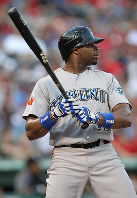 ARLINGTON, TX - JULY 23:  Rajai Davis #11 of the Toronto Blue Jays at Rangers Ballpark in Arlington on July 23, 2011 in Arlington, Texas.  (Photo by Ronald Martinez/Getty Images)