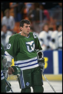 1990-1991: Center Ron Francis of the Hartford Whalers.