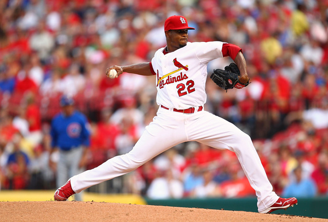 ST. LOUIS, MO - JULY 29: Starter Edwin Jackson #22 of the St. Louis Cardinals pitches against the Chicago Cubs at Busch Stadium on July 29, 2011 in St. Louis, Missouri.  (Photo by Dilip Vishwanat/Getty Images)
