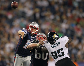 FOXBORO, MA - AUGUST 11: Ryan Mallett #15 of the New England Patriots throw against the Jacksonville Jaguars in the second half during a preseason game at Gillette Stadium on August 11, 2011 in Foxboro, Massachusetts. (Photo by Jim Rogash/Getty Images)