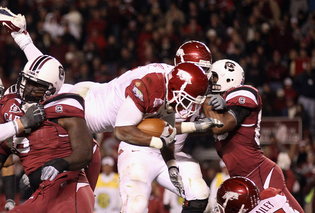 COLUMBIA, SC - NOVEMBER 06:  Knile Davis #7 of the Arkansas Razorbacks dives for a touchdown against the South Carolina Gamecocks during their game at Williams-Brice Stadium on November 6, 2010 in Columbia, South Carolina.  (Photo by Streeter Lecka/Getty
