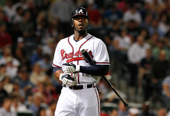 ATLANTA - APRIL 22:  Jason Heyward #22 of the Atlanta Braves walks to the dugout after striking out against the Philiadelphia Phillies at Turner Field on April 22, 2010 in Atlanta, Georgia.  (Photo by Kevin C. Cox/Getty Images)