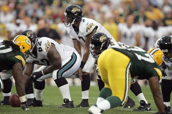 GREEN BAY, WI - AUGUST 23: Quarterback Byron Leftwich   #7 of the Jacksonville Jaguars calls the play during the game against the Green Bay Packers on August 23, 2007 at Lambeau Field in Green Bay, Wisconsin. (Photo by Jonathan Daniel/Getty Images)
