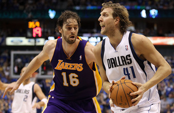 DALLAS, TX - MAY 08:  Forward Dirk Nowitzki #41 of the Dallas Mavericks dribbles the ball against Pau Gasol #16 of the Los Angeles Lakers in Game Four of the Western Conference Semifinals during the 2011 NBA Playoffs on May 8, 2011 at American Airlines Ce