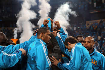 NEW ORLEANS, LA - APRIL 28:  The New Orleans Hornets huddle before a game against the Los Angeles Lakers in Game Six of the Western Conference Quarterfinals in the 2011 NBA Playoffs on April 28, 2011 at New Orleans Arena in New Orleans, Louisiana.  NOTE T