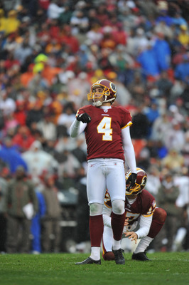 LANDOVER, MD - DECEMBER 12:  Graham Gano #4 of the Washington Redskins watches a missed field goal against the Tampa Bay Buccaneers  at FedExField on December 12, 2010 in Landover, Maryland. The Buccaneers defeated the Redskins 17-16. (Photo by Larry Fren