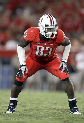 TUCSON, AZ - SEPTEMBER 25:  Defensive end D'Aundre Reed #83 of the Arizona Wildcats in action during the college football game against the California Golden Bears at Arizona Stadium on September 25, 2010 in Tucson, Arizona.   The Wildcats defeated the Gol
