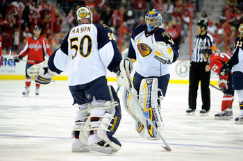 WASHINGTON - NOVEMBER 14:  Chris Mason #50 of the Atlanta Thrashers is replaced by Ondrej Pavelec #31 after allowing 4 goals against the Washington Capitals at the Verizon Center on November 14, 2010 in Washington, DC.  (Photo by Greg Fiume/Getty Images)