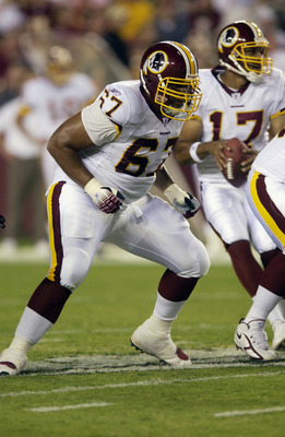 LANDOVER, MD - AUGUST 19:  Offensive lineman Kili Lefotu #67 of the Washington Redskins blocks as quarterback Jason Campbell #17 looks to make a pass against the New York Jets during the NFL preseason game on August 19, 2006 at FedEx Field in Landover, Ma